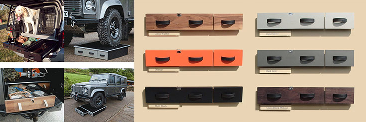 Land Rover Defender rear storage drawers - colour choices